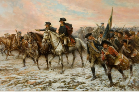 Hour of Victory, by Edward Percy Moran (1862-1935), portrays Washington and his troops marching towards Trenton (Mount Vernon Ladies' Assoc).
